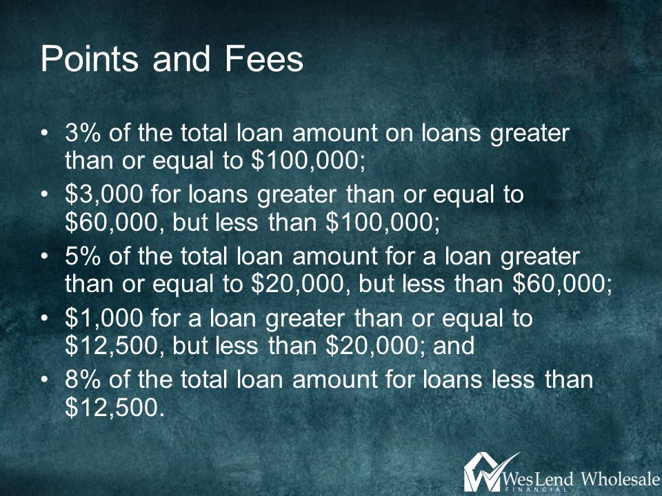 Points and Fees 3% of the total loan amount on loans greater than or equal to $100,000; $3,000 for loans greater than or equal to $60,000, but less than $100,000; 5% of the total loan amount for a loan greater than or equal to $20,000, but less than $60,000; $1,000 for a loan greater than or equal to $12,500, but less than $20,000; and 8% of the total loan amount for loans less than $12,500.