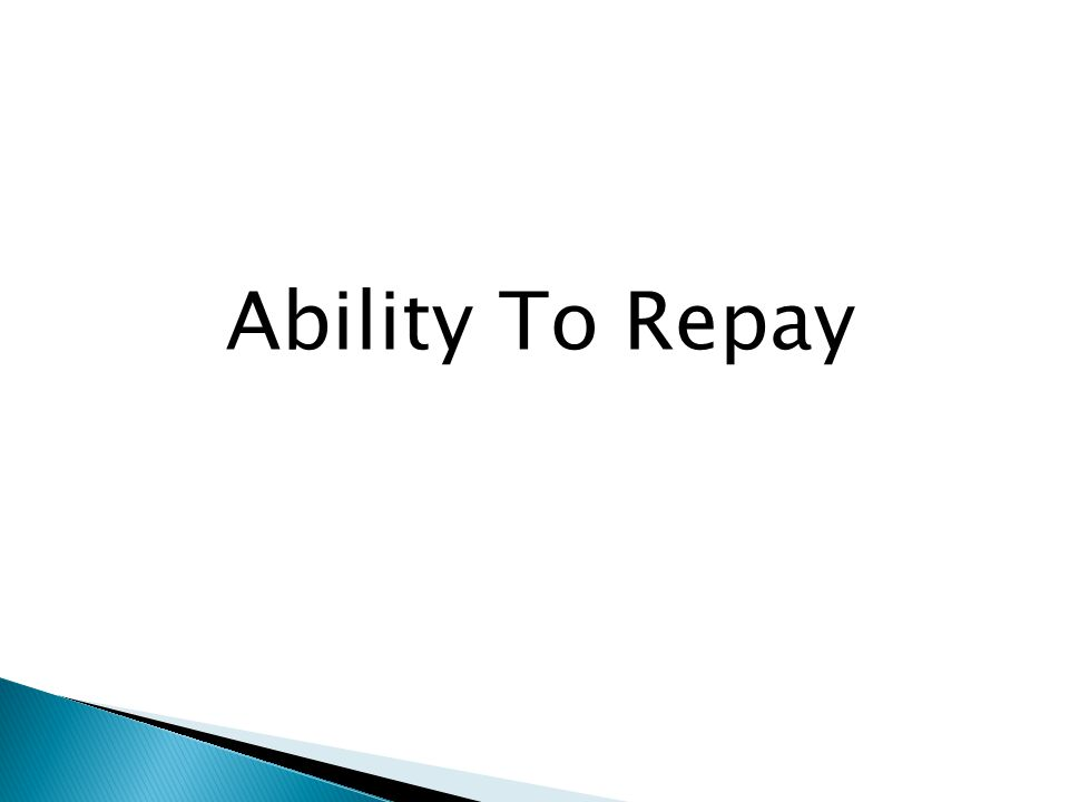 Ability To Repay