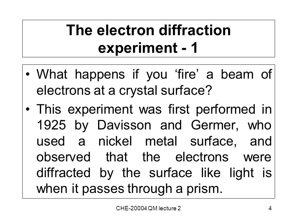 4 The electron diffraction experiment - 1 What happens if you 'fire' a beam of electrons at a crystal surface.