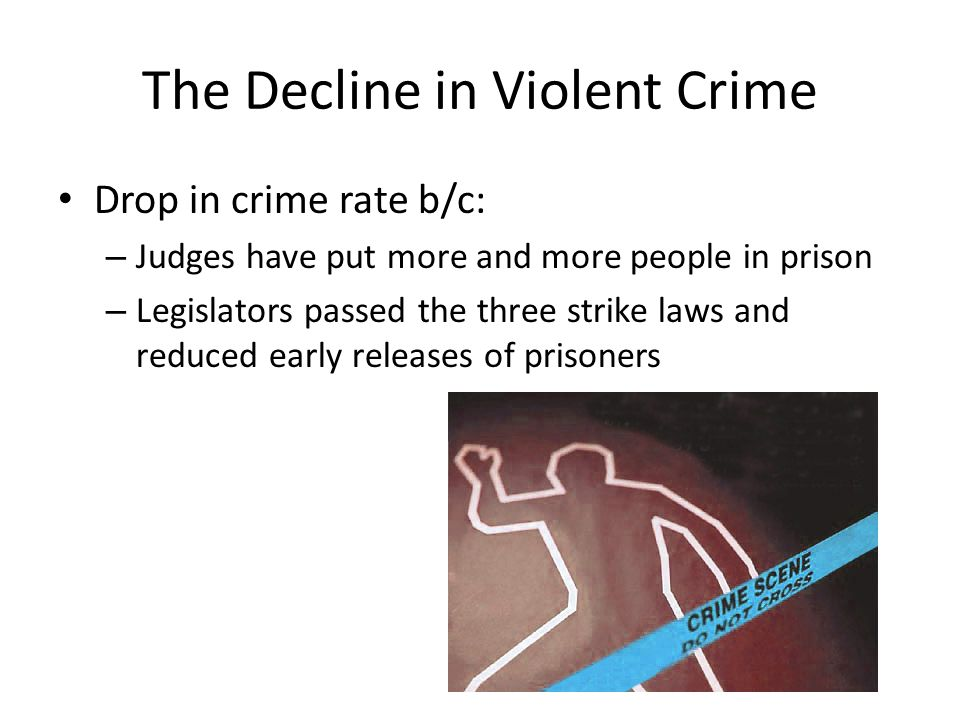 The Decline in Violent Crime Drop in crime rate b/c: – Judges have put more and more people in prison – Legislators passed the three strike laws and r