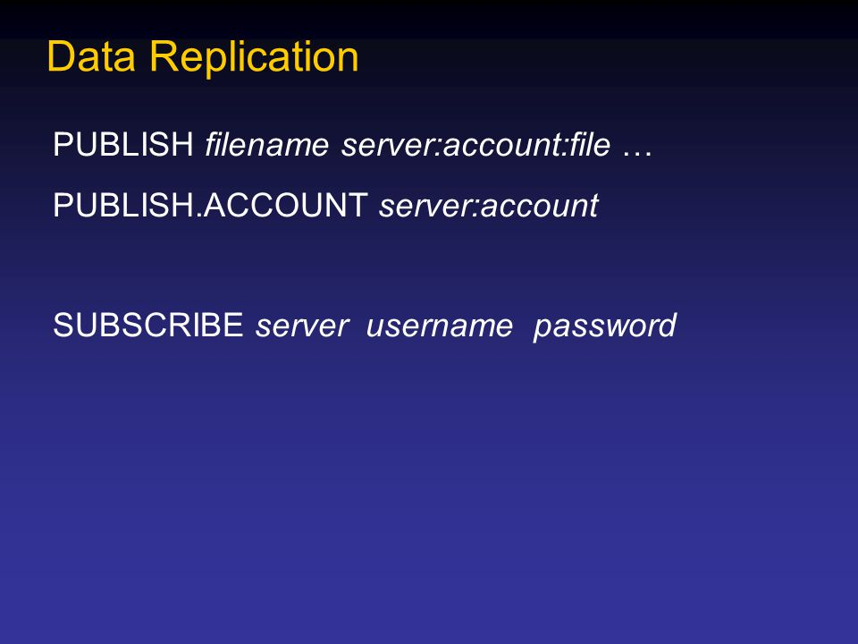 Data Replication PUBLISH filename server:account:file … PUBLISH.ACCOUNT server:account SUBSCRIBE server username password