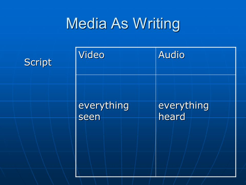 Media As Writing Script Script VideoAudio everything seen everything heard