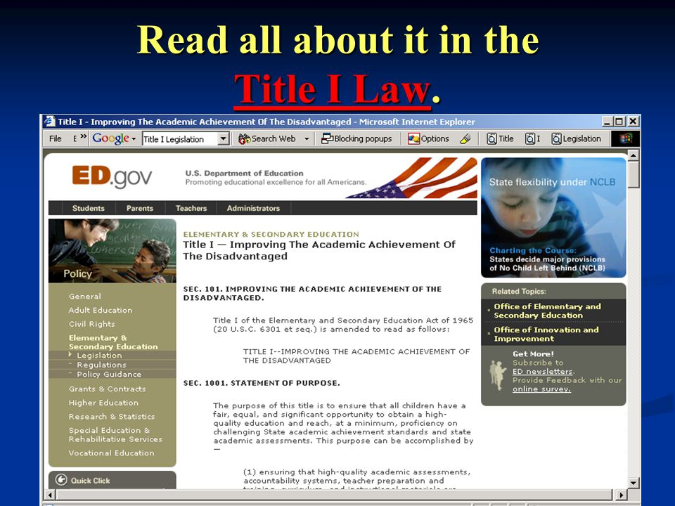 VDOE: May 2004 13 Read all about it in the Title I Law.