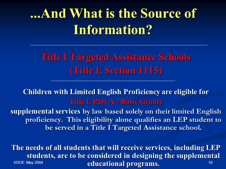 VDOE: May 2004 18...And What is the Source of Information? Title I Targeted Assistance Schools (Title I, Section 1115) Children with Limited English P