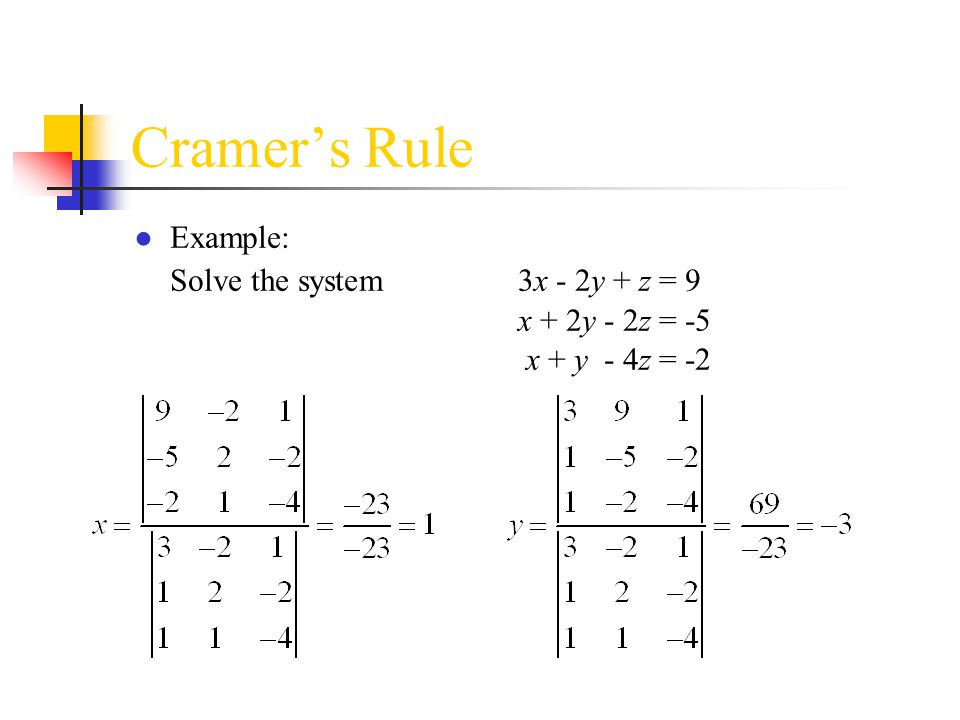 Cramer's Rule ● Example: Solve the system3x - 2y + z = 9 x + 2y - 2z = -5 x + y - 4z = -2
