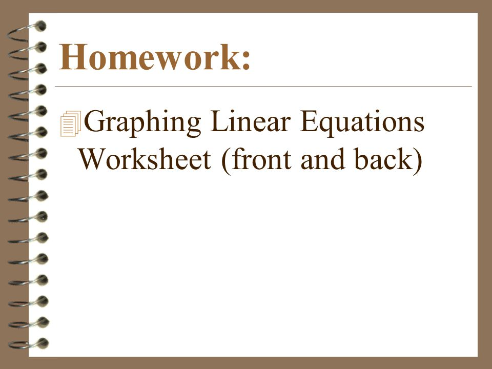 Homework: 4 Graphing Linear Equations Worksheet (front and back)