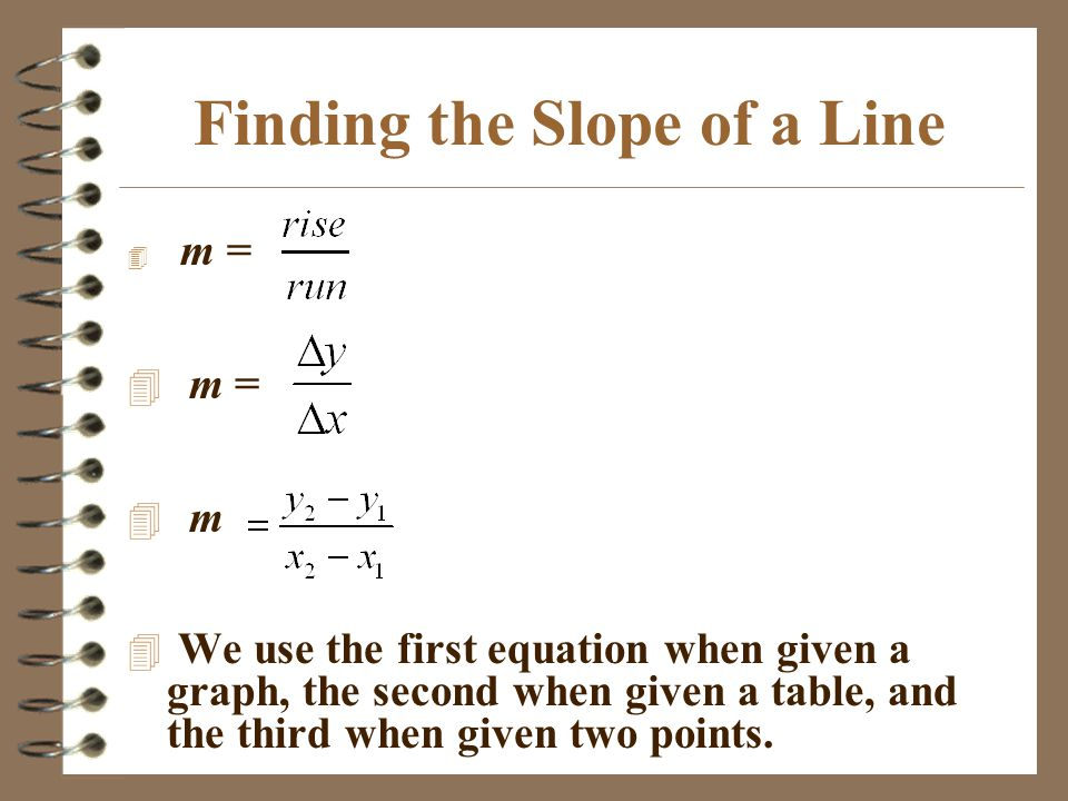 Finding the Slope of a Line 4 m = 4 m 4 We use the first equation when given a graph, the second when given a table, and the third when given two poin