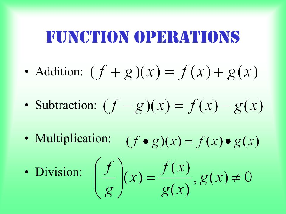 Function Operations Addition: Subtraction: Multiplication: Division: