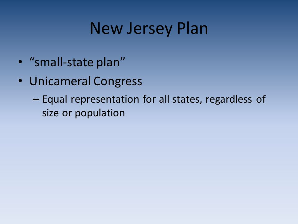 New Jersey Plan small-state plan Unicameral Congress – Equal representation for all states, regardless of size or population