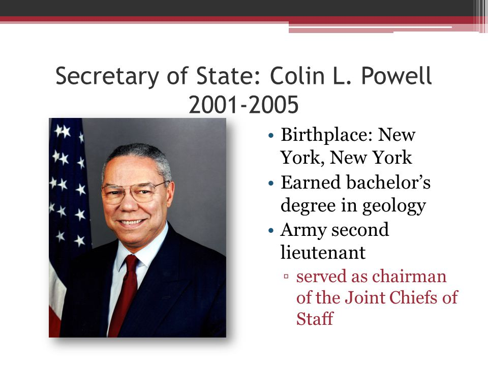 Secretary of State: Colin L.