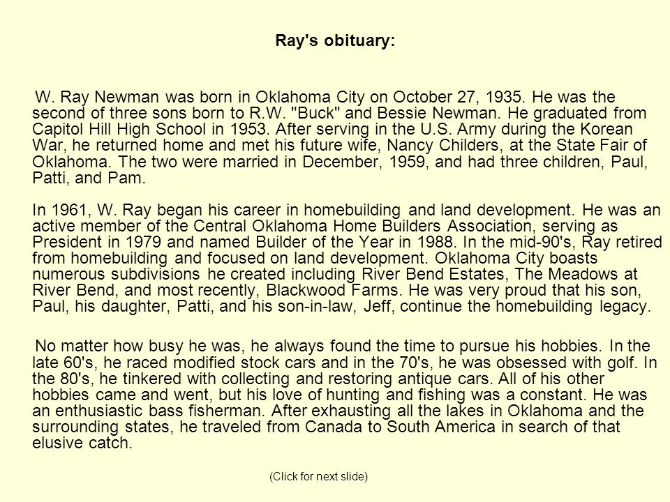 In memory of W. Ray Newman