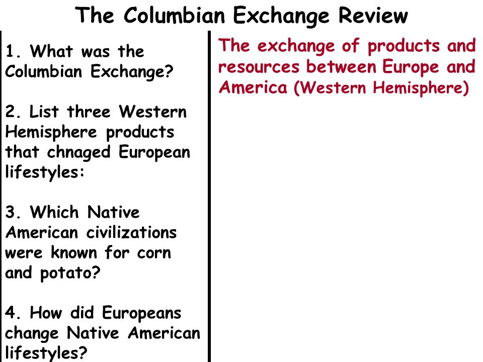 1. What was the Columbian Exchange? 2. List three Western Hemisphere products that chnaged European lifestyles: 3. Which Native American civilizations