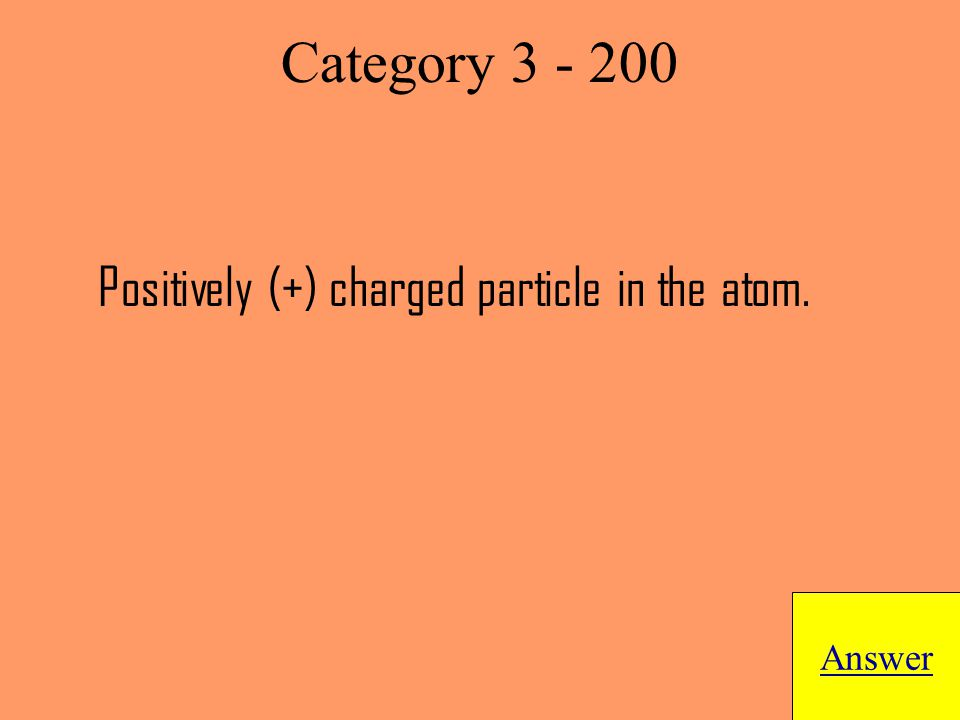 Positively (+) charged particle in the atom. Answer Category 3 - 200