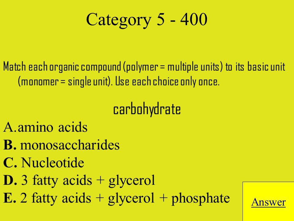Match each organic compound (polymer = multiple units) to its basic unit (monomer = single unit).