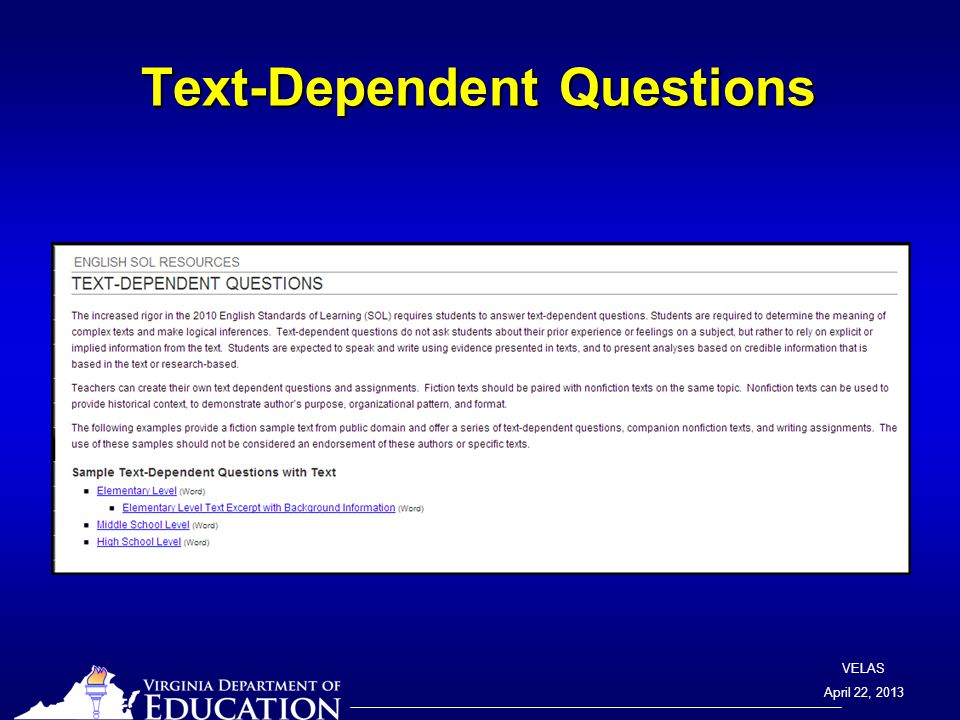 VELAS April 22, 2013 Text-Dependent Questions