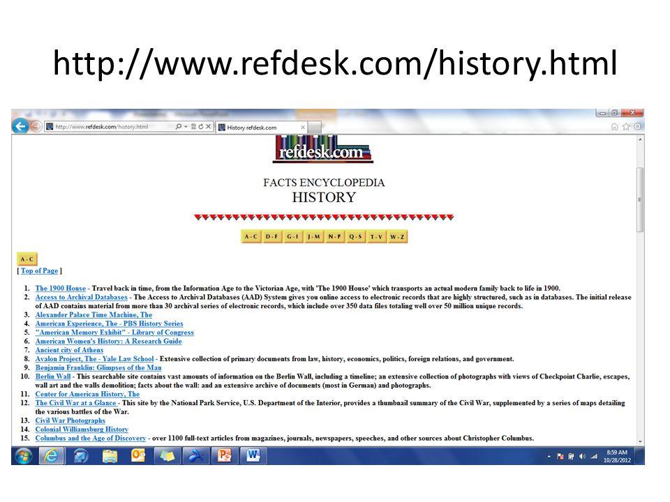 http://www.refdesk.com/history.html