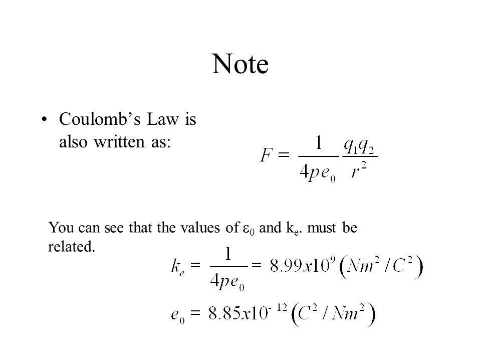 Note Coulomb's Law is also written as: You can see that the values of  0 and k e. must be related.