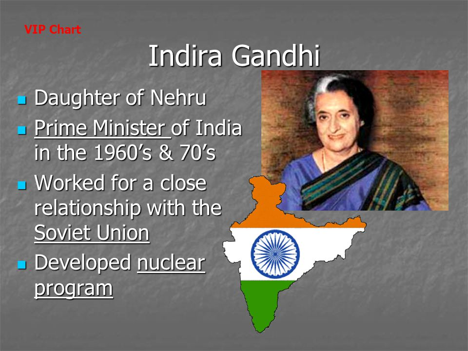 Indira Gandhi Daughter of Nehru Daughter of Nehru Prime Minister of India in the 1960's & 70's Prime Minister of India in the 1960's & 70's Worked for