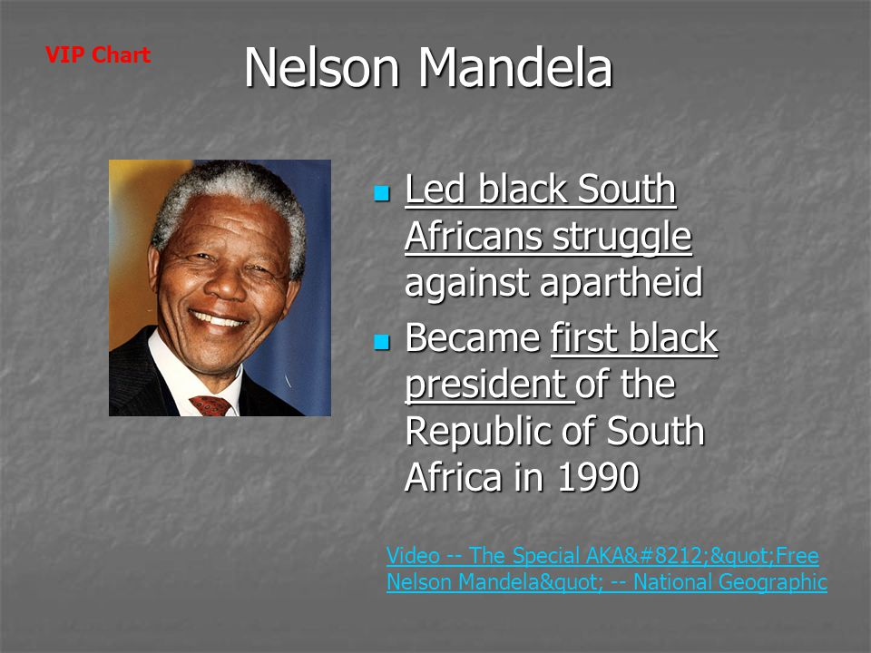 Nelson Mandela Led black South Africans struggle against apartheid Led black South Africans struggle against apartheid Became first black president of the Republic of South Africa in 1990 Became first black president of the Republic of South Africa in 1990 Video -- The Special AKA— Free Nelson Mandela -- National Geographic VIP Chart