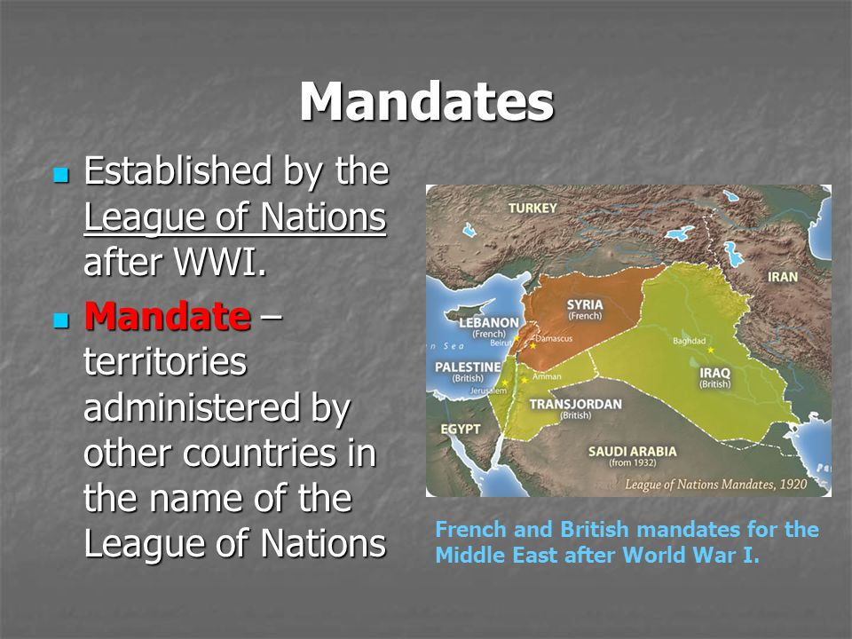 Mandates Established by the League of Nations after WWI. Established by the League of Nations after WWI. Mandate – territories administered by other c