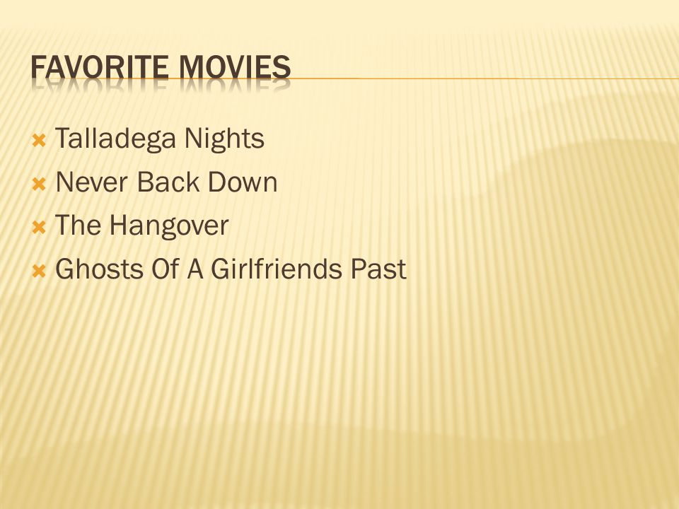  Talladega Nights  Never Back Down  The Hangover  Ghosts Of A Girlfriends Past