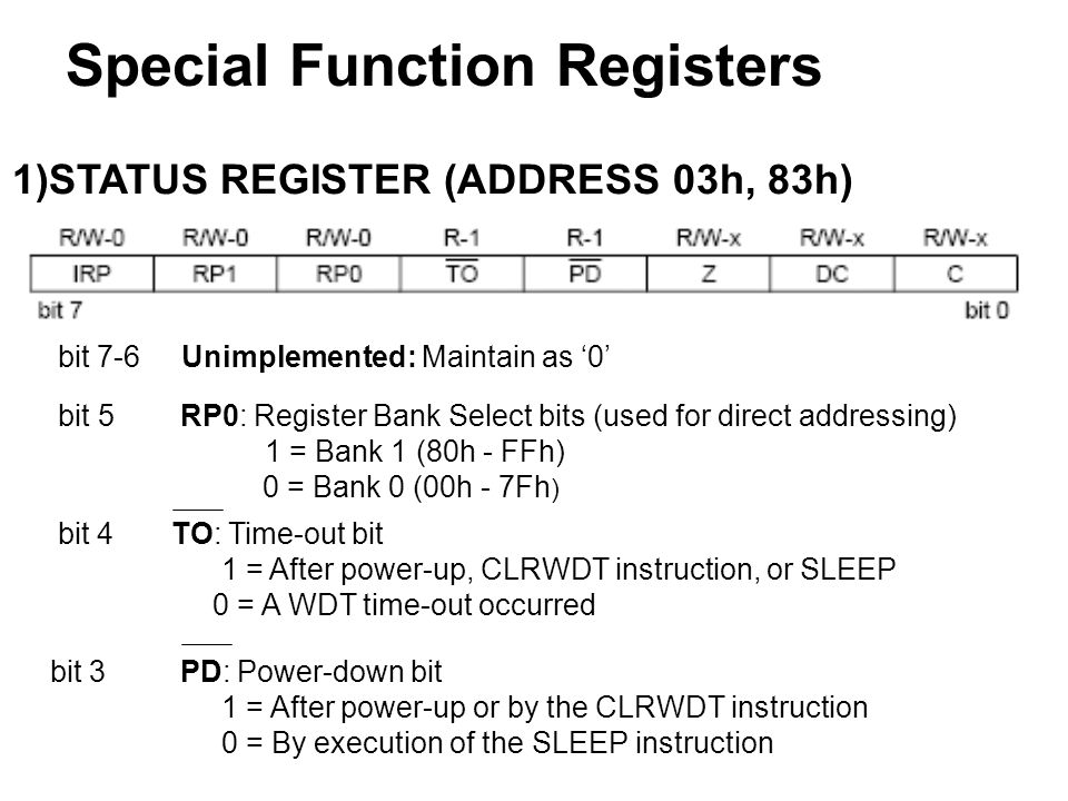 BSF STATUS, RP0 ; Select Bank 1 MOVL W 0x0F ; Value used to initialize data direction MOVWF TRISA ; Set RA as inputs RA4 as output TRISA are always read as '0 CLRF TRISB ;Set RB as output INITIALIZING PORTA &PORTB