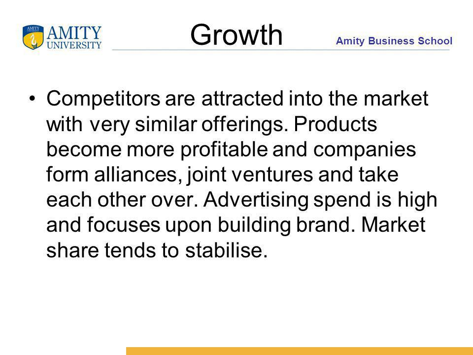 Amity Business School Growth Competitors are attracted into the market with very similar offerings.