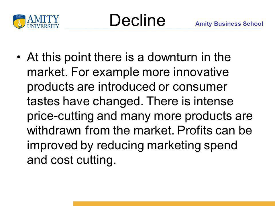 Amity Business School Decline At this point there is a downturn in the market.