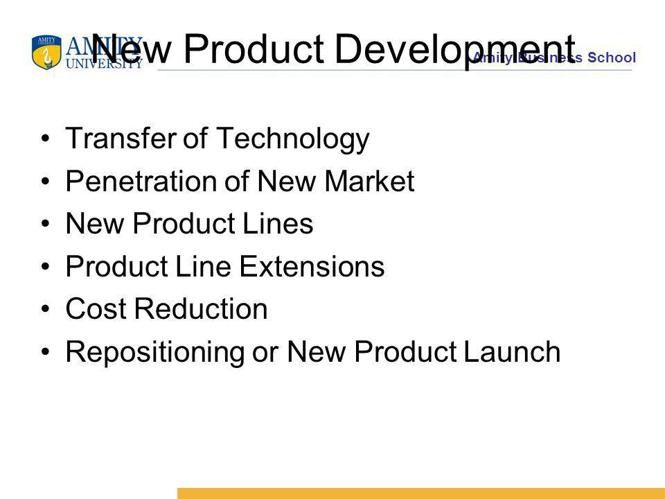 Amity Business School New Product Development Transfer of Technology Penetration of New Market New Product Lines Product Line Extensions Cost Reduction Repositioning or New Product Launch