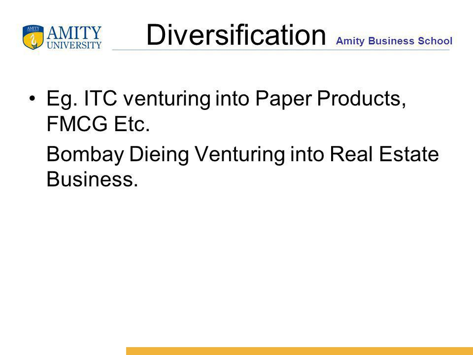 Amity Business School Diversification Eg. ITC venturing into Paper Products, FMCG Etc.