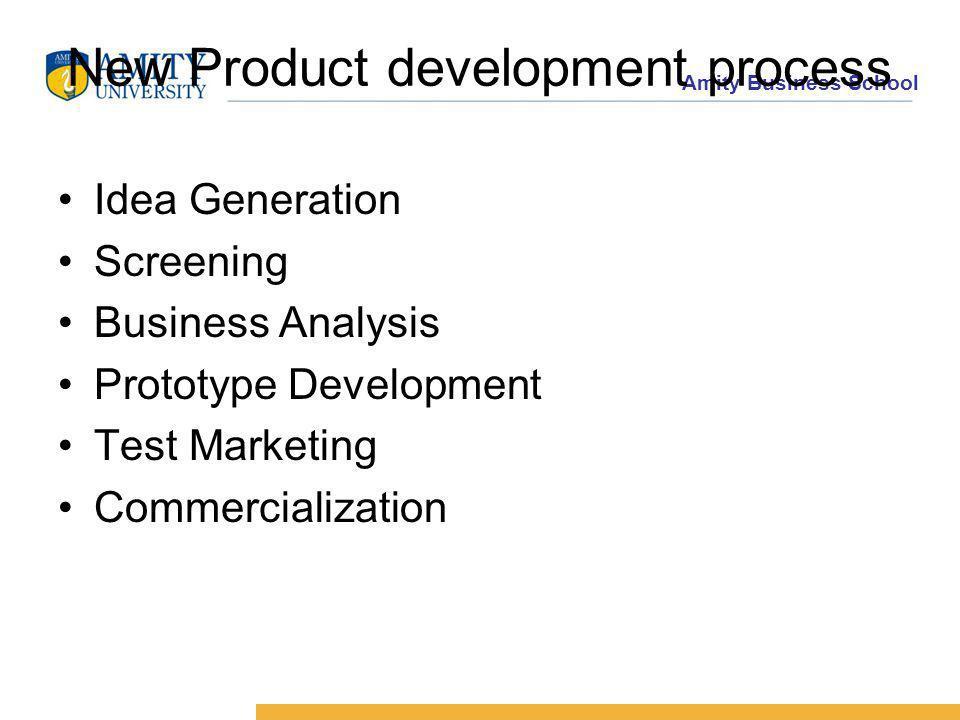 Amity Business School New Product development process Idea Generation Screening Business Analysis Prototype Development Test Marketing Commercialization