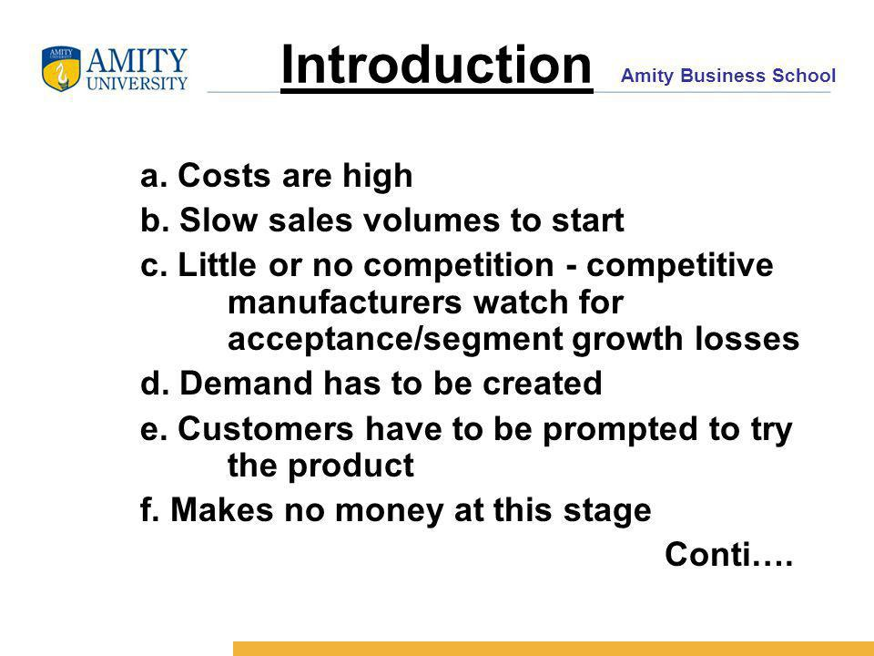 Amity Business School Introduction a. Costs are high b.