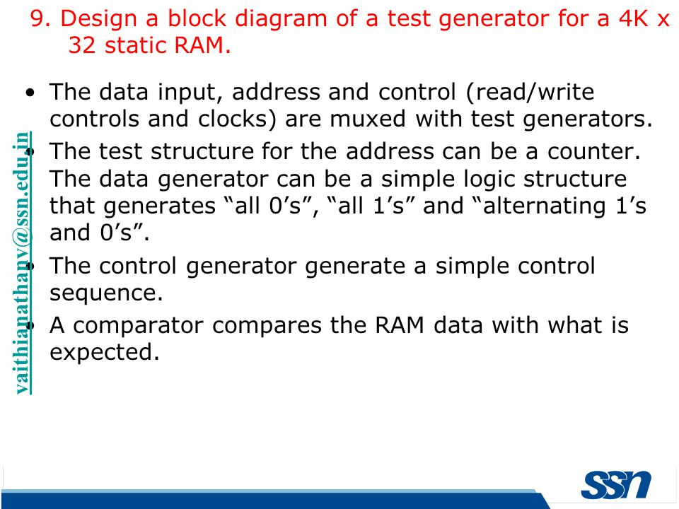 The data input, address and control (read/write controls and clocks) are muxed with test generators. The test structure for the address can be a count