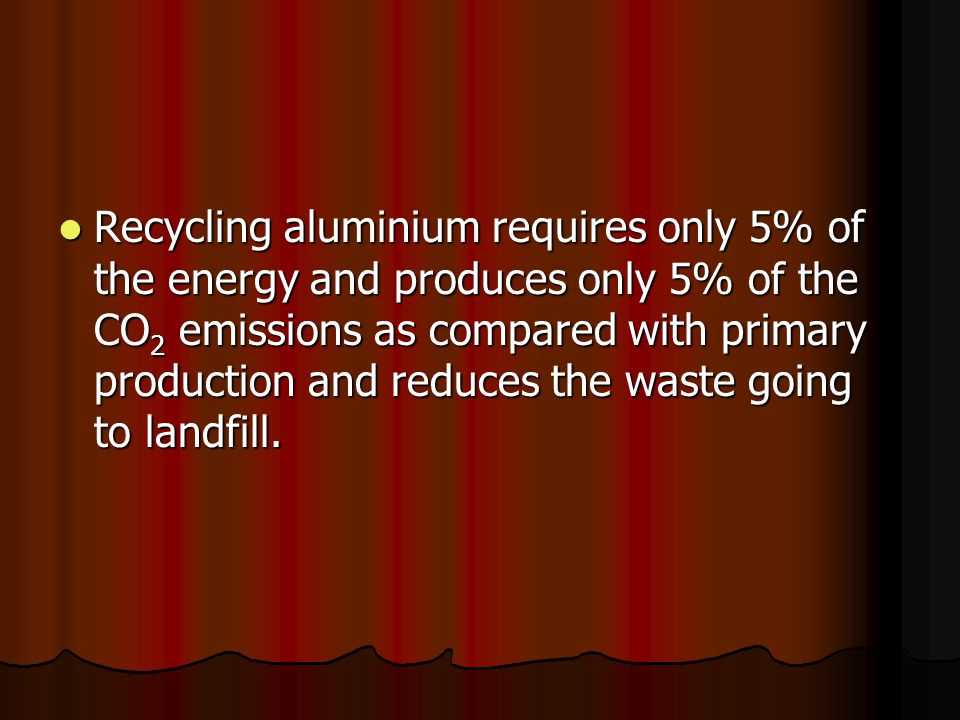 Recycling aluminium requires only 5% of the energy and produces only 5% of the CO 2 emissions as compared with primary production and reduces the wast