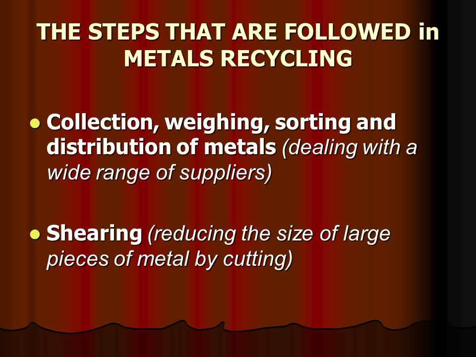 Baling/compacting (to improve ease of handling and transportation) Baling/compacting (to improve ease of handling and transportation) Shredding (feedstock to fist-sized lumps; and separating metals from other materials using magnets and air classification methods) Shredding (feedstock to fist-sized lumps; and separating metals from other materials using magnets and air classification methods)