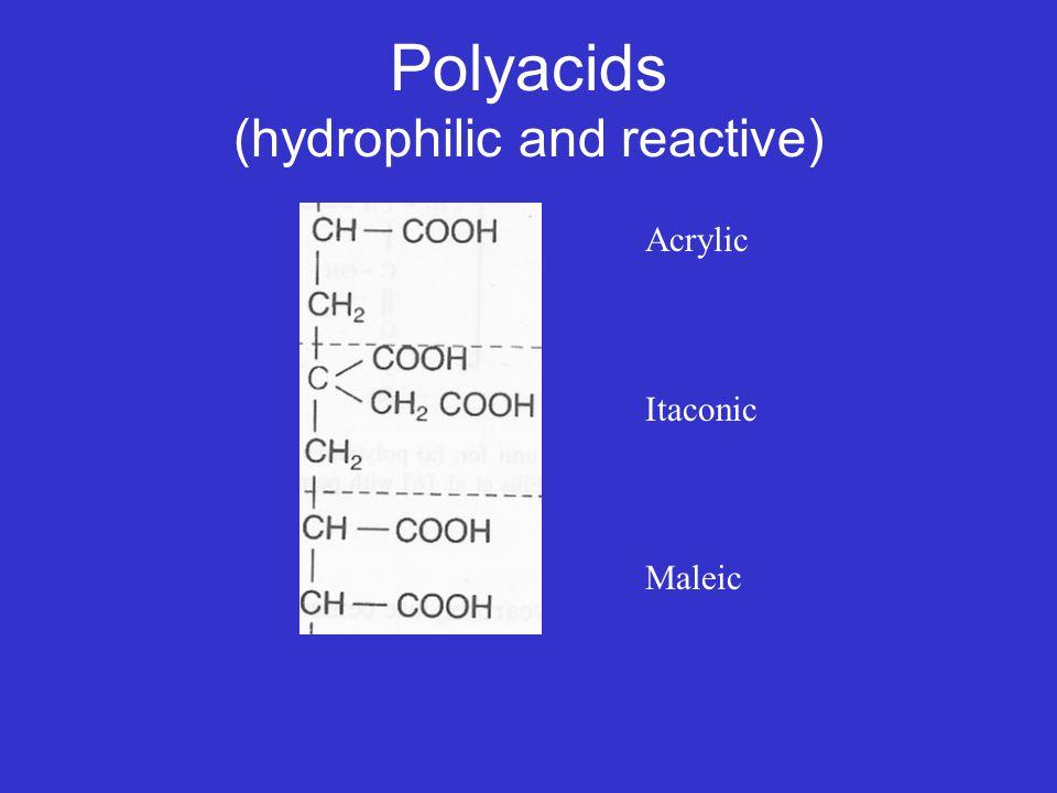 Polyacids (hydrophilic and reactive) Acrylic Itaconic Maleic