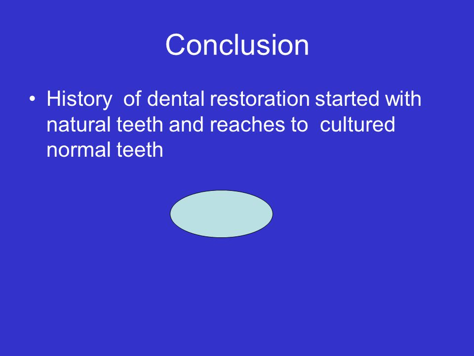 Conclusion History of dental restoration started with natural teeth and reaches to cultured normal teeth