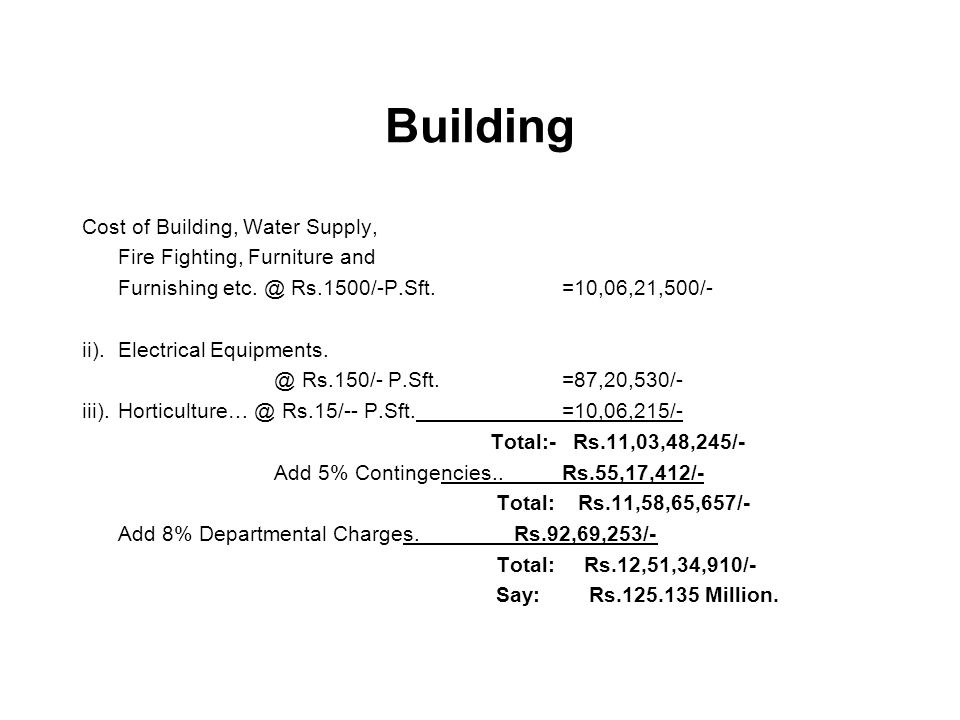 Building Cost of Building, Water Supply, Fire Fighting, Furniture and Furnishing etc. @ Rs.1500/-P.Sft.=10,06,21,500/- ii).Electrical Equipments. @ Rs