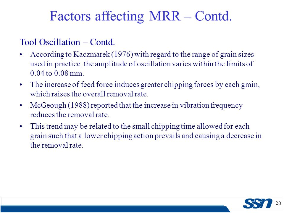 20 Factors affecting MRR – Contd. Tool Oscillation – Contd. According to Kaczmarek (1976) with regard to the range of grain sizes used in practice, th