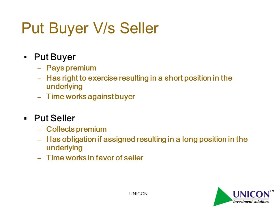 UNICON Put Buyer V/s Seller  Put Buyer – Pays premium – Has right to exercise resulting in a short position in the underlying – Time works against buyer  Put Seller – Collects premium – Has obligation if assigned resulting in a long position in the underlying – Time works in favor of seller