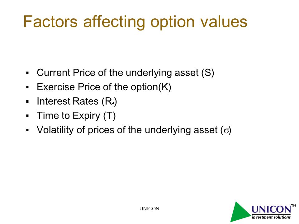 UNICON Factors affecting option values  Current Price of the underlying asset (S)  Exercise Price of the option(K)  Interest Rates (R f )  Time to Expiry (T)  Volatility of prices of the underlying asset (  )