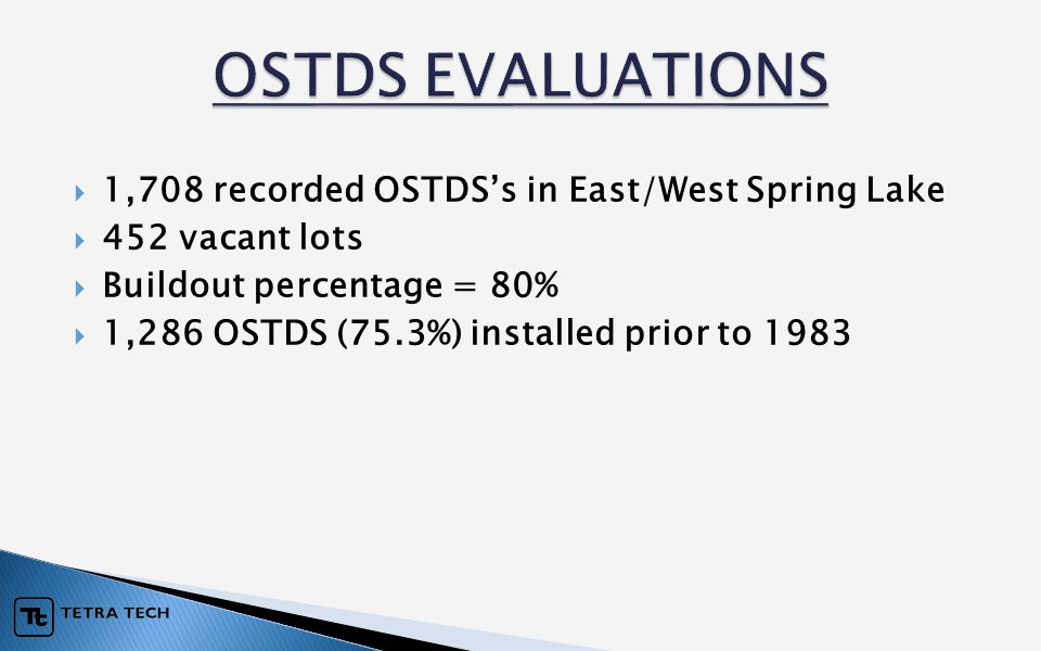  1,708 recorded OSTDS's in East/West Spring Lake  452 vacant lots  Buildout percentage = 80%  1,286 OSTDS (75.3%) installed prior to 1983
