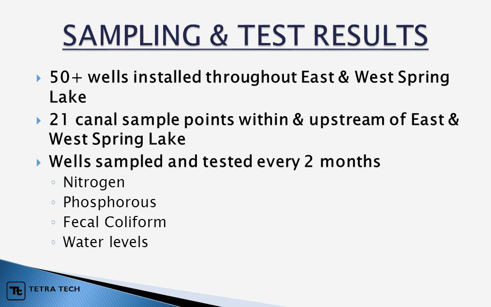  50+ wells installed throughout East & West Spring Lake  21 canal sample points within & upstream of East & West Spring Lake  Wells sampled and tes