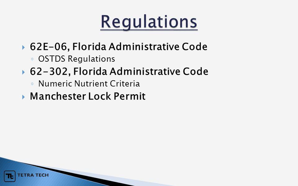  62E-06, Florida Administrative Code ◦ OSTDS Regulations  62-302, Florida Administrative Code ◦ Numeric Nutrient Criteria  Manchester Lock Permit