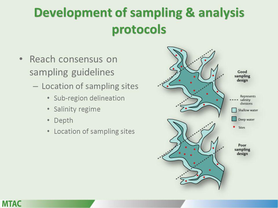 Development of sampling & analysis protocols Reach consensus on sampling guidelines – Location of sampling sites Sub-region delineation Salinity regime Depth Location of sampling sites