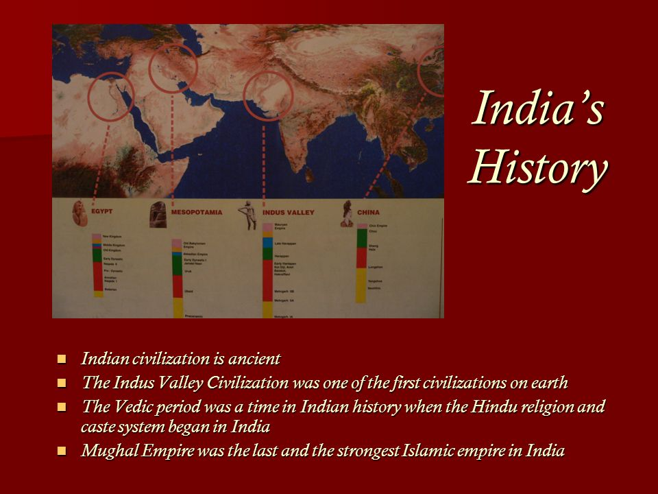 India's History Indian civilization is ancient Indian civilization is ancient The Indus Valley Civilization was one of the first civilizations on earth The Indus Valley Civilization was one of the first civilizations on earth The Vedic period was a time in Indian history when the Hindu religion and caste system began in India The Vedic period was a time in Indian history when the Hindu religion and caste system began in India Mughal Empire was the last and the strongest Islamic empire in India Mughal Empire was the last and the strongest Islamic empire in India