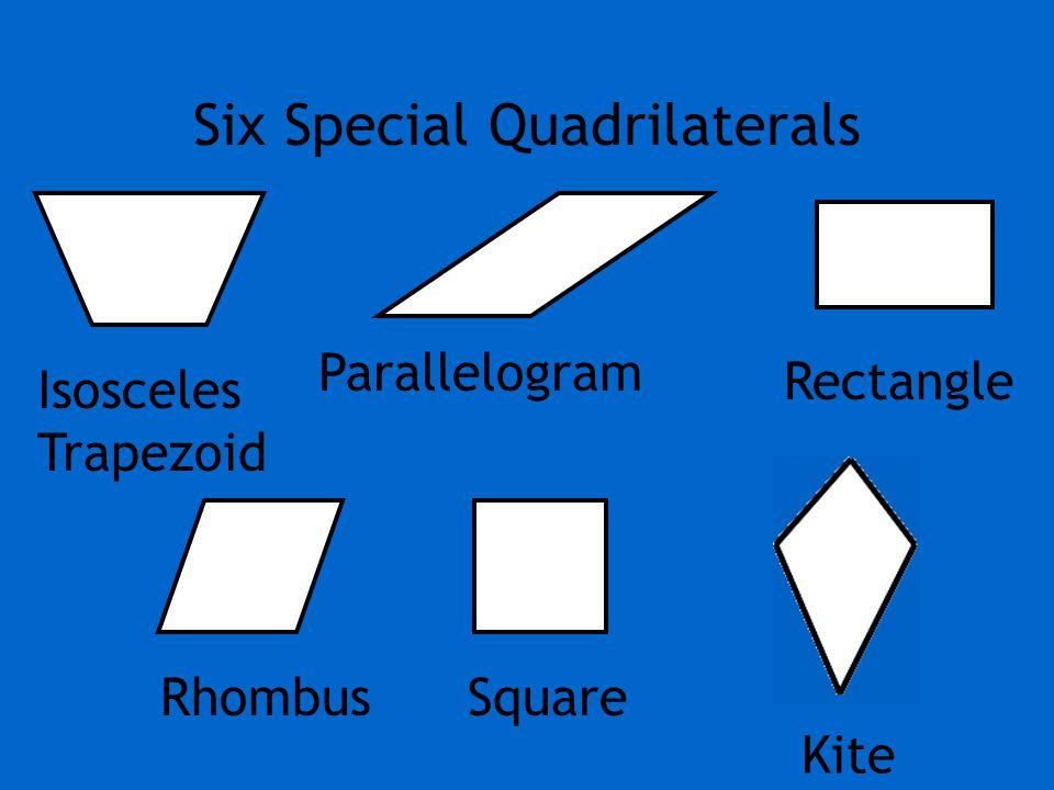 Six Special Quadrilaterals Parallelogram Rectangle RhombusSquare Isosceles Trapezoid Kite
