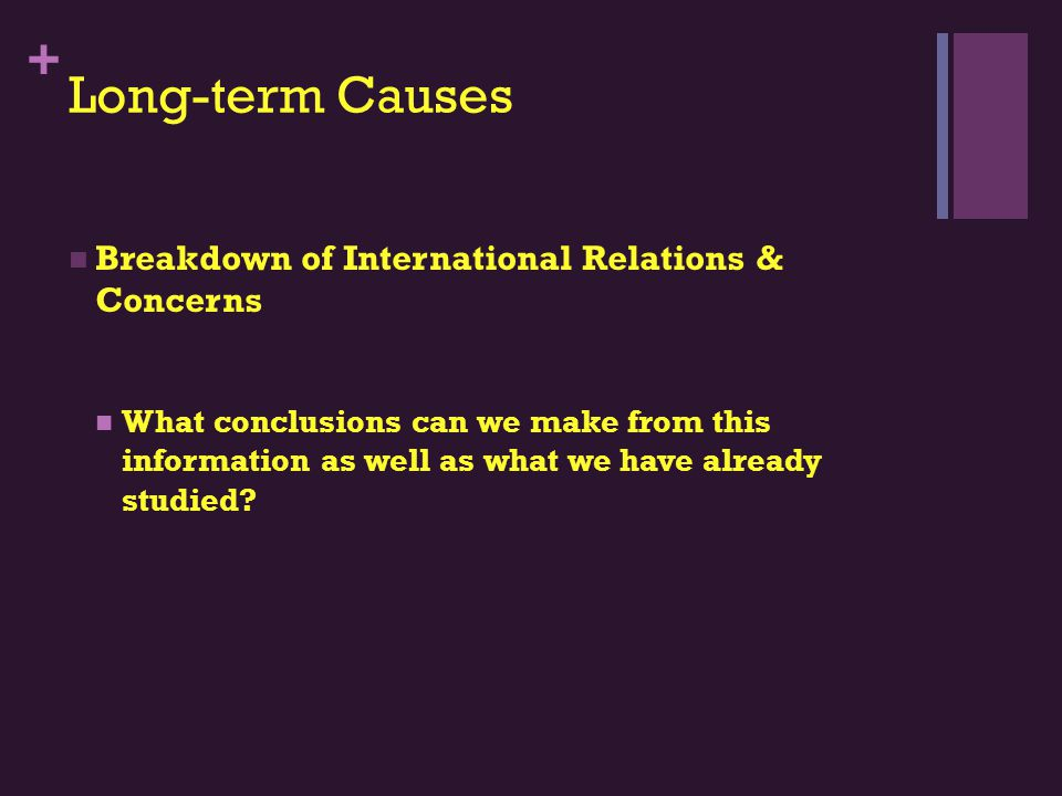 + Long-term Causes Breakdown of International Relations & Concerns What conclusions can we make from this information as well as what we have already studied