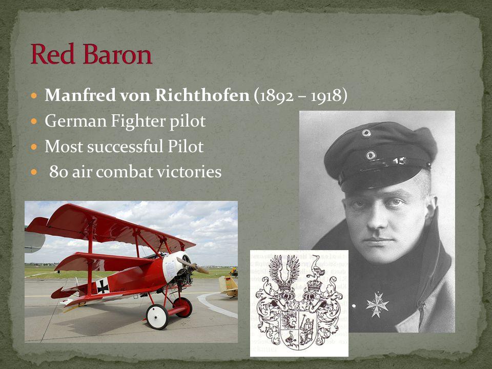 Manfred von Richthofen (1892 – 1918) German Fighter pilot Most successful Pilot 80 air combat victories