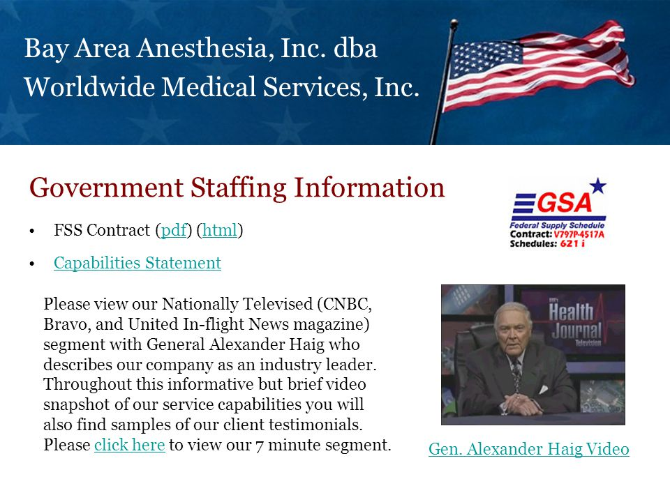 FSS Contract (pdf) (html)pdfhtml Capabilities Statement Government Staffing Information Bay Area Anesthesia, Inc.